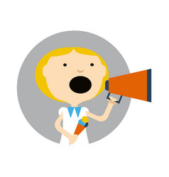 Young girl with ice cream and megaphone icon vector