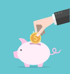 hand coin piggy bank vector image vector image