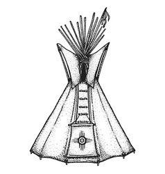 hand drawn indian tipi vintage vector image