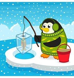 penguin on fishing vector image