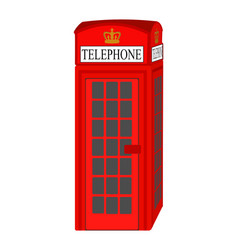 red traditional telephone booth - london britain vector image