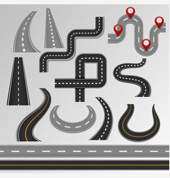 road roadway and highway on map with route vector image
