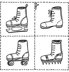 Sport shoes doodle set isolated on white vector image