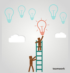 businessman on the ladder catching a light bulb vector image vector image