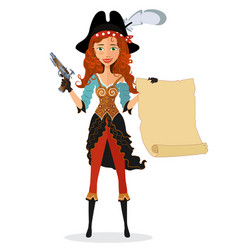 cartoon pirate girl with powder gun and scroll vector image vector image