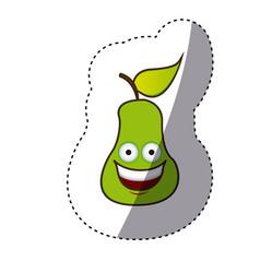 green kawaii fruit pear happy icon vector image vector image