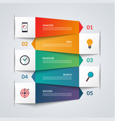 paper arrows for infographics 5 option template vector image