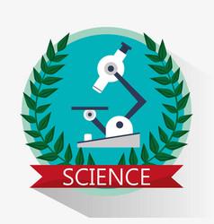 science microscope biology equipment emblem vector image
