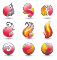 set of fire corporate symbols vector image vector image