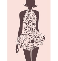Silhouette of woman in dress from accessories vector image vector image