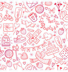 valentine day doodles elements pattern cute vector image vector image