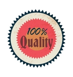 100 percent quality label vintage style vector image vector image