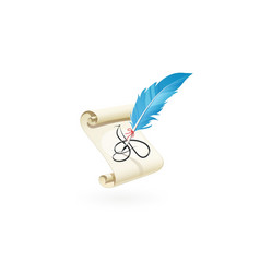 feather pen write a letter vector image