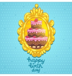 Happy Birthday card with cake in frame vector image