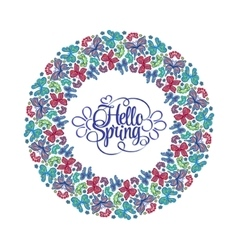 Hello Spring lettering Round frame of butterflies vector image