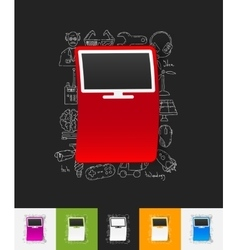 Monitor paper sticker with hand drawn elements vector