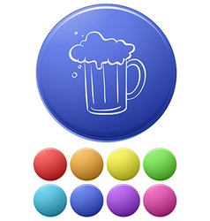 A big circle with an image of a beer vector image