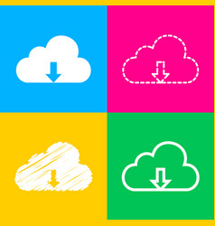 cloud technology sign four styles of icon on four vector image vector image