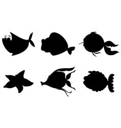 Different silhouettes of sea creatures vector image