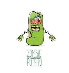 funny cartoon cute green zombie potato vector image