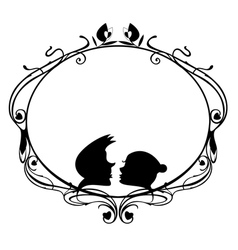 Original decorative frame with loving coupl vector image vector image
