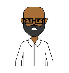 Sad man with beard glasses and casual cloth vector