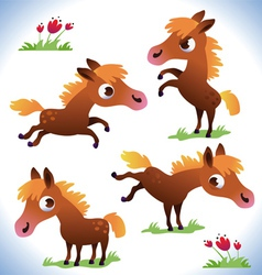 Set of cute cartoon pony vector image vector image
