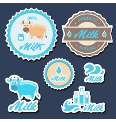 Set of labels and icons for milk in vector image vector image