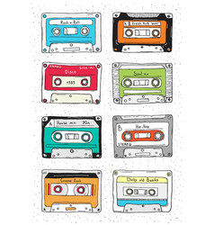 set of plastic cassette audio tape with different vector image vector image