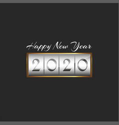 2020 logo happy new year display in gold frame vector image