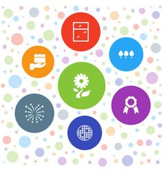 7 decorative icons vector image