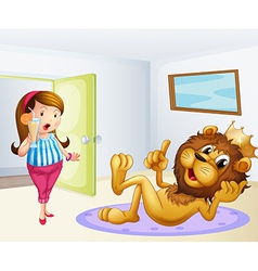 A fat lady and a lion inside a room vector