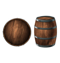 a wooden barrel for storing alcoholic beverages vector image