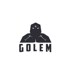 Abstract giant stone golem logo icon template vector