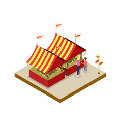 Amusement park tents isometric 3d element vector