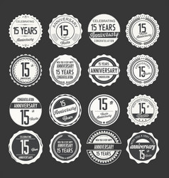 Anniversary retro labels 15 years collection 3 vector