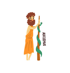 Asclepius olympian greek god ancient greece vector