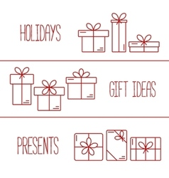 banners with thin line icons gift boxes vector image