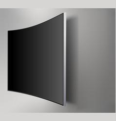 Black led tv television screen blank on walll vector
