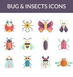 Bugs Flat Icons vector