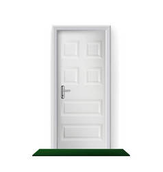 building entrance door and mat on floor vector image