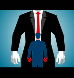 businessman boxing against a big man vector image