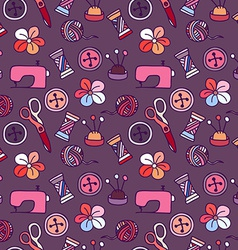 Cartoon Hand Drawn Seamless Pattern with Sewing vector image