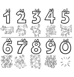 Cartoon numbers set color book with farm animals vector