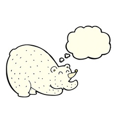 Cartoon stretching polar bear with thought bubble vector