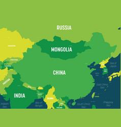 China map - green hue colored on dark background vector