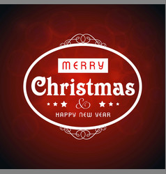 christmas card typographic with dark background vector image