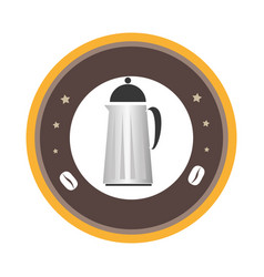 Circular emblem with coffee jar vector