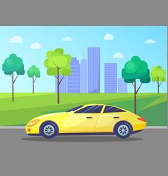 Cityscape with car on road skyline city center vector