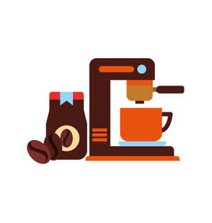 coffee maker machine cup jat and seeds vector image